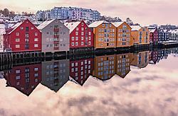 THEMENBILD - die farbenfrohen Speicherhäuser am Kanalhafen, aufgenommen am 14. Maerz 2019 in Trondheim, Norwegen // the colourful warehouses at the canal port, Trondheim, Norway on 2018/03/14. EXPA Pictures © 2019, PhotoCredit: EXPA/ JFK