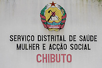 Sign advertising the social district services in Chibuto, Mozambique, Limpopo floodplain, Maputo Province, Mozambique