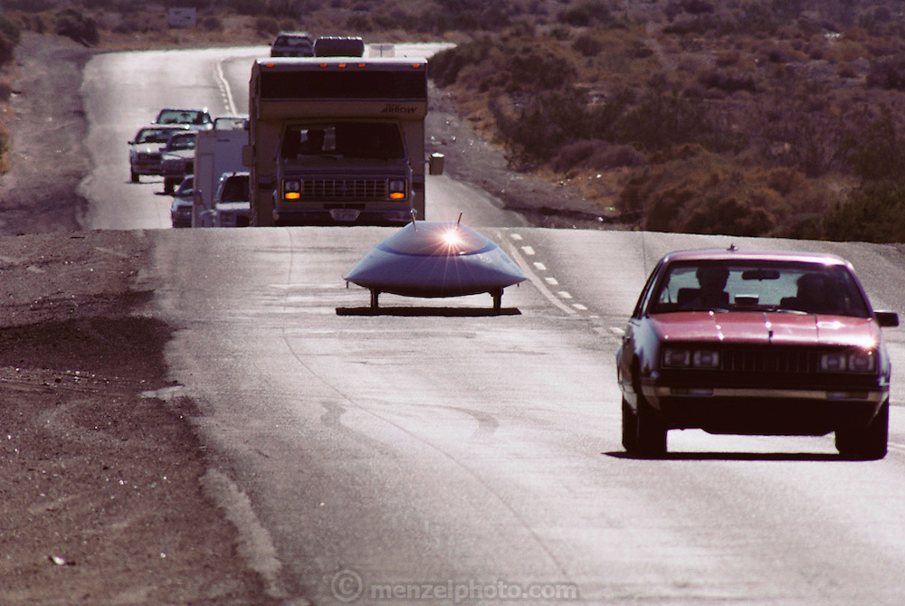 Sunraycer in traffic on a road test in the Simi Valley, California, USA. Sunraycer, General Motors' entry for the Pentax World Solar Challenge, the first international solar-powered car race, which began in Darwin, Northern Territories on November 1st, 1987 and finished in Adelaide, South Australia. Sunraycer was the eventual winner, taking 5 1/2 days to complete the 1,950 miles, traveling at an average speed of 41.6 miles per hour. Strict rules were applied throughout the race. Entrants were permitted two 2-hour solar battery charging sessions per day, performed immediately before & after each daily stage of the race. (1987)