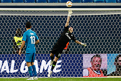 October 4, 2018 - Saint Petersburg, Russia - Andrey Lunev (R) of FC Zenit Saint Petersburg saves the ball during the Group C match of the UEFA Europa League between FC Zenit Saint Petersburg and SK Sparta Prague at Saint Petersburg Stadium on October 4, 2018 in Saint Petersburg, Russia. (Credit Image: © Mike Kireev/NurPhoto/ZUMA Press)