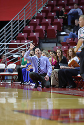 01 January 2009: Bluejays coach Jim Flanery calls in a play. The game between the Creighton Bluejays and the Illinois State Redbirds ended with the Redbirds on top by a score of 63-43 on Doug Collins Court inside Redbird Arena on the campus of Illinois State University, Normal IL.