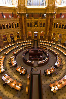 Overview of the Main Reading Room, The Library of Congress (Thomas Jefferson Building), Washington D.C., U.S.A.