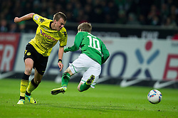 14.10.2011, Weser Stadion, Bremen, GER, 1.FBL, Werder Bremen vs Borussia Dortmund, im Bild.Foul von Robert Lewandowski (Dortmund #9) an Markus Rosenberg (Bremen #11).// during the Match GER, 1.FBL, Werder Bremen vs Borussia Dortmund on 2011/10/14,  Weser Stadion, Bremen, Germany..EXPA Pictures © 2011, PhotoCredit: EXPA/ nph/  Kokenge       ****** out of GER / CRO  / BEL ******