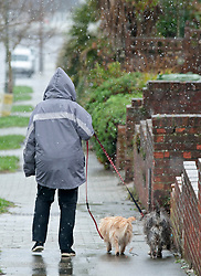 ©Licensed to London News Pictures 27/02/2020<br /> Orpington, UK. A lady walks her dog in the snowy weather this morning in Orpington, South East London. Photo credit: Grant Falvey/LNP