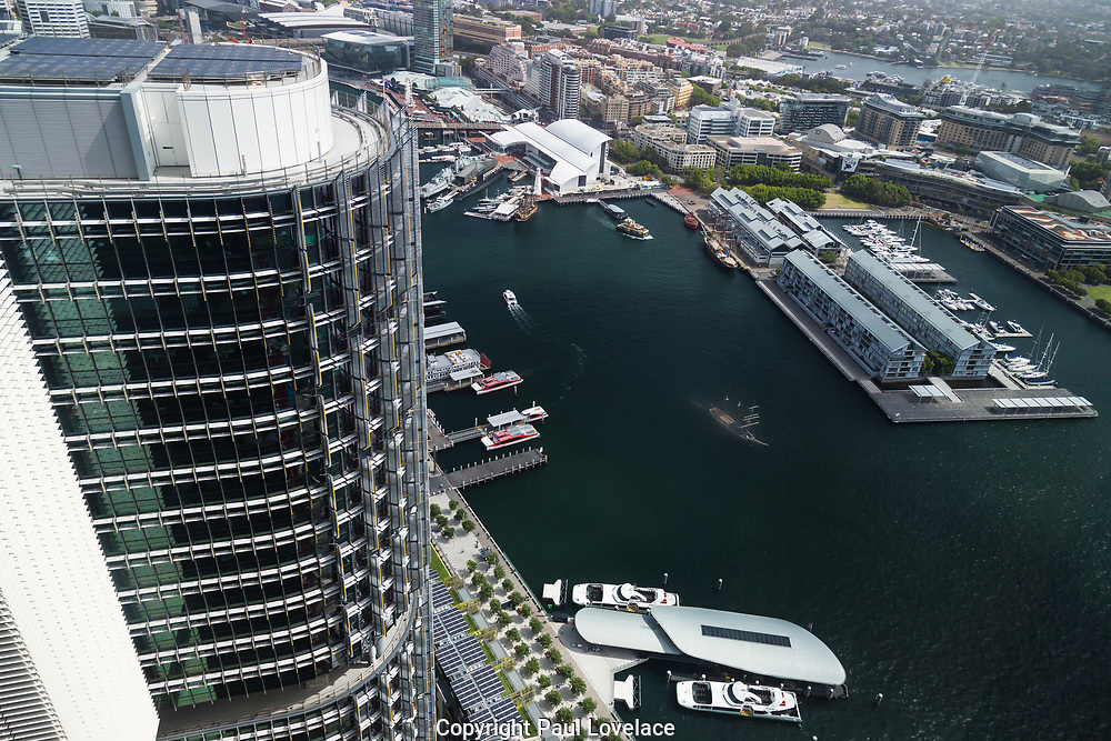 Open Sydney presented by Sydney Living Museuems. This event every year allows Sydneysiders to visit 40 of the city's most significant buildings and spaces across the CBD. Barangaroo harbour views from One International Towers, Sydney.