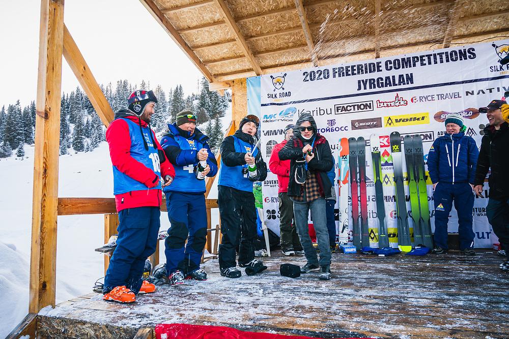 Winners of the men's beginner/intermediate comp - Day 4 Silk Road Freeride Competition, Jyrgalan, KG.