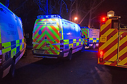 © Licensed to London News Pictures 19/01/2021.        Orpington, UK. Emergency vehicles at the scene. A person has been rescued from the River Cray in Orpington,South East London tonight (19.01.21) by The London Ambulance Hazardous Area Response Team along with firefighters from the London Fire Brigade.The condition of the person is unknown. Photo credit:Grant Falvey/LNP