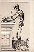 """Male full body side view skeleton woodcut print at the opening of the Human Anatomy book """"Notomie di Titiano"""" Printed in Italy in 1670"""