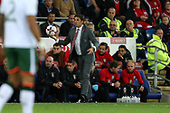 Chris Coleman, the Wales manager holds the ball on the touchline. Wales v Rep of Ireland , FIFA World Cup qualifier , European group D match at the Cardiff city Stadium in Cardiff , South Wales on Monday 9th October 2017. pic by Andrew Orchard, Andrew Orchard sports photography