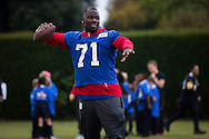 Stansly Maponga of the New York Giants during the New York Giants Press Day  at Syon House, Brentford, United Kingdom on 21 October 2016. Photo by Jason Brown.