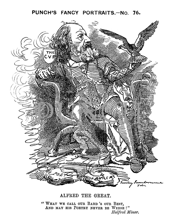 """Alfred the Great. """"What we call our bard's our best, and may his poetry never be werse!"""" Halfred Minor."""