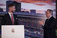 Real Madrid's defender and captain Sergio Ramos and Presidetn Florentino Perez during a press conference announcing his contract renewal  in Madrid, Spain. August 17, 2015. (ALTERPHOTOS/Victor Blanco)