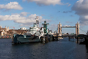 HMS Belfast is one of the icons of the River Thames. Moored just along from Tower Bridge, HMS Belfast is a museum ship,  permanently moored in London on the River Thames. She was originally a Royal Navy light cruiser and served during the Second World War and Korean War.