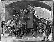 Fenian Conspiracy leaders Kelly and Deasy rescued from police van passing under railway bridge in Hyde Street on way from court in Manchester to prison, 18 September 1867. Police sergeant shot dead. Wood engraving