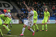 James Norwood (Tranmere Rovers) claims handball as the defender gets in the way of a goal-bound shot, not given during the Vanarama National League match between Tranmere Rovers and Southport at Prenton Park, Birkenhead, England on 6 February 2016. Photo by Mark P Doherty.