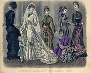 Colour drawing of Godey's women's Fashion for April 1880 from Godey's Lady's Book and Magazine, 1880 Philadelphia, Louis A. Godey, Sarah Josepha Hale,