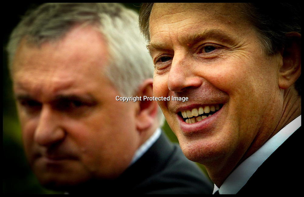 The British Priem Minister Tony Blair Gives Press conference  with Irish Taoiseach Bertie Ahern at Leeds Castle  , Kent, Saturday 18th  September 2004  on the conclusion to  deal with  Northern Ireland's deadlocked peace process. . See PA Story ULSTER Politics.PA Photo Andrew Parsons
