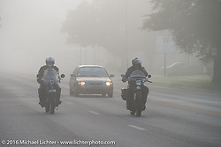 Mike Carson riding his 1924 Harley-Davidson JE in the fog at the beginning of Stage 8 of the Motorcycle Cannonball Cross-Country Endurance Run, which on this day ran from Junction City, KS to Burlington, CO., USA. Saturday, September 13, 2014.  Photography ©2014 Michael Lichter.