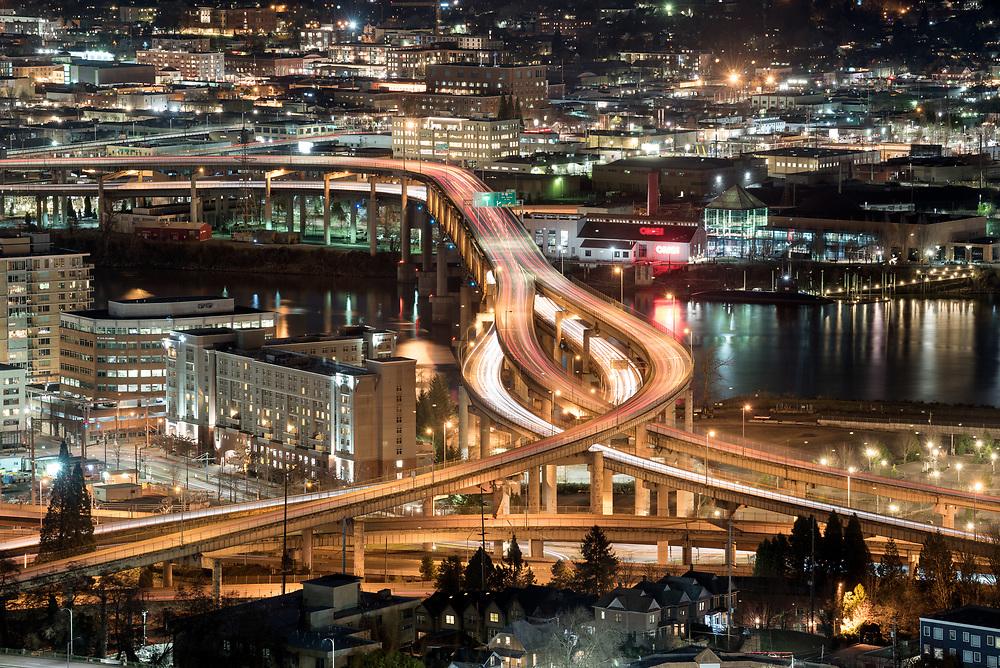Interstate 5 Marquam Bridge at night, Portland, Oregon.