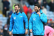 Lincoln City Manager Danny Cowley (r) celebrates his teams win with his brother and assistant Nicky Cowley after the final whistle. The Emirates FA cup 5th round match, Burnley v Lincoln City at Turf Moor in Burnley, Lancs on Saturday 18th February 2017.<br /> pic by Chris Stading, Andrew Orchard Sports Photography.