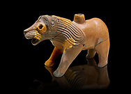 Hittite Terra cotta lion shaped ritual vessel - 16th century BC - Hattusa ( Bogazkoy ) - Museum of Anatolian Civilisations, Ankara, Turkey . Against black background .<br /> <br /> If you prefer to buy from our ALAMY STOCK LIBRARY page at https://www.alamy.com/portfolio/paul-williams-funkystock/hittite-art-antiquities.html  - Type Hattusa into the LOWER SEARCH WITHIN GALLERY box. Refine search by adding background colour, place, museum etc<br /> <br /> Visit our HITTITE PHOTO COLLECTIONS for more photos to download or buy as wall art prints https://funkystock.photoshelter.com/gallery-collection/The-Hittites-Art-Artefacts-Antiquities-Historic-Sites-Pictures-Images-of/C0000NUBSMhSc3Oo