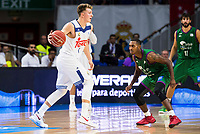 Real Madrid's player Luka Doncic and Unicaja Malaga's player Jamar Smith during match of Liga Endesa at Barclaycard Center in Madrid. September 30, Spain. 2016. (ALTERPHOTOS/BorjaB.Hojas)