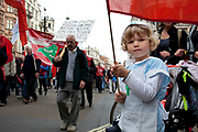 London, UK. Saturday 20th October 2012. Little girl dressed as a nurse joins in the demonstration with her friends and mother at the TUC (Trades Union Congress) march 'A Future That Works'. Demonstration against austerity cuts by the government.