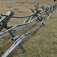 A jack-leg fence divides pastures in Montana's Paradise Valley.