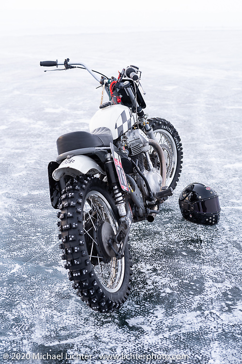 Aleksei Kalabin's Kawasaki w650 racer during the Baikal Mile Ice Speed Festival. Maksimiha, Siberia, Russia. Saturday, February 29, 2020. Photography ©2020 Michael Lichter.