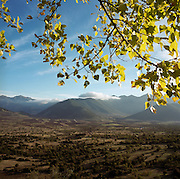 In afternoon sunshine, autumn leaves and far away mountains with light cloud on their peaks are viewed from across a clear valley landscape, seen from the roadside near Levidi in Arcadia, between Tripolis and Argos on the Peloponnese region of south-western Greece. At 850m above sea level, pine forests and the slopes of the Mainalo mountains (a mountain range that spans about 15 to 20 from north to south (southwest of Tripolis to NE of Vytina), surrounds the town which lies to the west. The valley contains potato agriculture and mixed farming and extends up to near Kandila. The athlete called Androsthenes was from Maenalus, won gold at the ancient Olympics in 420 and 416 BC.