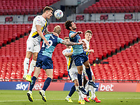 Oxford United's Josh Ruffels (left) heads at goal <br /> <br /> Photographer Andrew Kearns/CameraSport<br /> <br /> Sky Bet League One Play Off Final - Oxford United v Wycombe Wanderers - Monday July 13th 2020 - Wembley Stadium - London<br /> <br /> World Copyright © 2020 CameraSport. All rights reserved. 43 Linden Ave. Countesthorpe. Leicester. England. LE8 5PG - Tel: +44 (0) 116 277 4147 - admin@camerasport.com - www.camerasport.com