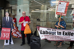 London, UK. 20th July, 2021. Roger Silverman addresses supporters of left-wing Labour Party groups at a protest lobby outside the party's headquarters. The lobby was organised to coincide with a Labour Party National Executive Committee meeting during which it was asked to proscribe four organisations, Resist, Labour Against the Witchhunt, Labour In Exile and Socialist Appeal, members of which could then be automatically expelled from the Labour Party.