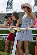 LUCY YATES; EMMA WELBY; ISABEL HARVEY KELLY, Glorious Goodwood. Thursday.  Sussex. 3 August 2013