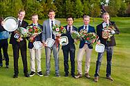 17-05-2015 NGF Competitie 2015, Hoofdklasse Heren - Dames Standaard - Finale, Golfsocieteit De Lage Vuursche, Den Dolder, Nederland. 17 mei. Heren RESERVE Eindhovensche 2: Team tijdens de prijsuitreiking.