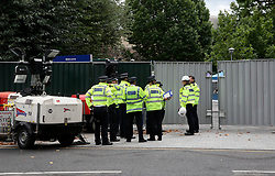 UK ENGLAND LONDON 14JUL17 - Police officers gather at Grenfell Tower in north Kensington, west London, one month after the disaster that left over 80 people dead.<br /> <br /> jre/Photo by Jiri Rezac<br /> <br /> © Jiri Rezac 2017