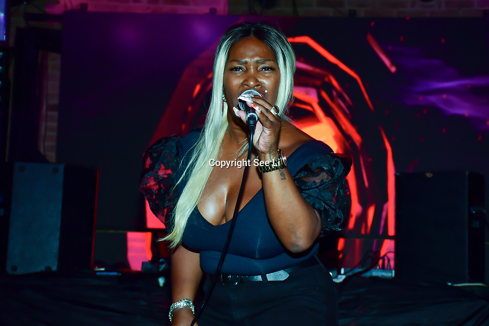 """Artist Valerie M performs at The Third Annual Integrity Awards by Dragon Lady Productions and The Peace Project 21st """"The Alternative Fashion Integrity Awards 2019 & Film Networking Soirée"""" on 21 September 2019, Fire Club Vauxhall, London, UK."""