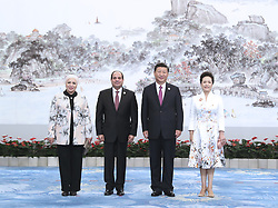 (170904) -- XIAMEN, Sept. 4, 2017 (Xinhua) -- Chinese President Xi Jinping and his wife Peng Liyuan welcome Egyptian President Abdel-Fattah al-Sisi and his wife before a banquet for those attending the ninth BRICS summit and the Dialogue of Emerging Market and Developing Countries in Xiamen, southeast China's Fujian Province, Sept. 4, 2017.  (Xinhua/Ma Zhancheng)  (zhs) (Photo by Xinhua/Sipa USA)