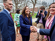 11 APRIL 2019 - DES MOINES, IOWA: US Senator KAMALA HARRIS, (D-CA) arrives at a house party meet and greet for her presidential campaign in Des Moines.  Sen Harris is one of the leading candidates to be Democratic nominee for the US Presidency. Iowa traditionally hosts the the first election event of the presidential election cycle. The Iowa Caucuses will be on Feb. 3, 2020.     PHOTO BY JACK KURTZ
