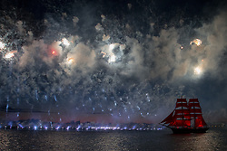 June 24, 2017 - Saint Petersburg, Russia - Sweden's brig Tre Kronor with scarlet sails floats on the Neva River during the Scarlet Sails festivities marking school graduation, in St. Petersburg, Russia, June 24, 2017. This week graduation ceremonies and celebrations are held all over Russia as students of elementary and high schools and military academies finish their education. (Credit Image: © Igor Russak/NurPhoto via ZUMA Press)