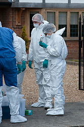 ©Licensed to London News Pictures 14/05/2020<br /> Dartford, UK. Forensic police outside a property. Police have launched a murder investigation after a man was found this morning stabbed to death in Dartford, Kent.  Photo credit: Grant Falvey/LNP
