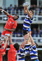 Charlie Ewels of Bath Rugby rises high to win lineout ball - Photo mandatory by-line: Patrick Khachfe/JMP - Mobile: 07966 386802 25/10/2014 - SPORT - RUGBY UNION - Bath - The Recreation Ground - Bath Rugby v Toulouse - European Rugby Champions Cup
