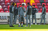 Middlesbrough players, pitch inspection before the EFL Sky Bet Championship match between Brentford and Middlesbrough at Brentford Community Stadium, Brentford, England on 7 November 2020.