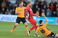 Jordan Bowery of Oxford Utd scores his teams 1st goal. Skybet football league two match, Newport county v Oxford Utd at Rodney Parade in Newport, South Wales on Tuesday 19th April 2016.<br /> pic by Andrew Orchard, Andrew Orchard sports photography.