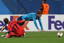 September 28, 2017 - Saint Petersburg, Russia - David Zurutuza of FC Real Sociedad (L) and Aleksandr Kokorin of FC Zenit Saint Petersburg vie for the ball during the UEFA Europa League Group L football match between FC Zenit Saint Petersburg and FC Real Sociedad at Saint Petersburg Stadium on September 28, 2017 in St.Petersburg, Russia. (Credit Image: © Igor Russak/NurPhoto via ZUMA Press)