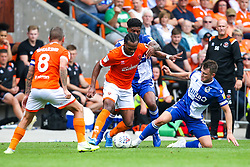 Nathan Delfouneso of Blackpool takes on Mark Little and Ollie Clarke of Bristol Rovers - Mandatory by-line: Robbie Stephenson/JMP - 03/08/2019 - FOOTBALL - Bloomfield Road - Blackpool, England - Blackpool v Bristol Rovers - Sky Bet League One