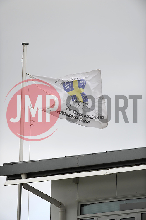 The Durham flag flies at half mast to honour the life of Former Australian Cricketer Richie Benaud - Photo mandatory by-line: Harry Trump/JMP - Mobile: 07966 386802 - 12/04/15 - SPORT - CRICKET - LVCC County Championship - Day 1 - Somerset v Durham - The County Ground, Taunton, England.