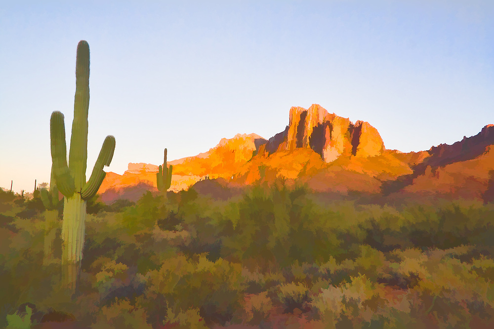 Superstition Mountains sunrise in the desert about 50 miles east of Phoenix Arizona