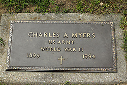 31 August 2017:   Veterans graves in Park Hill Cemetery in eastern McLean County.<br /> <br /> Charles A Myers US Army World War II 1899 1994
