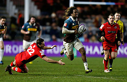 Edinburgh Rugby's Jason Tovey and Harlequins' Marland Yarde during the European Challenge Cup, pool five match at Twickenham Stoop, London.