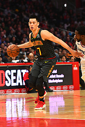 January 29, 2019 - Los Angeles, CA, U.S. - LOS ANGELES, CA - JANUARY 28: Atlanta Hawks Guard Jeremy Lin (7) looks to make a pass during a NBA game between the Atlanta Hawks and the Los Angeles Clippers on January 28, 2019 at STAPLES Center in Los Angeles, CA. (Photo by Brian Rothmuller/Icon Sportswire) (Credit Image: © Brian Rothmuller/Icon SMI via ZUMA Press)